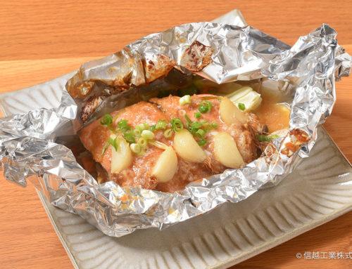 ひげにんにくと鮭のちゃんちゃんホイル焼き